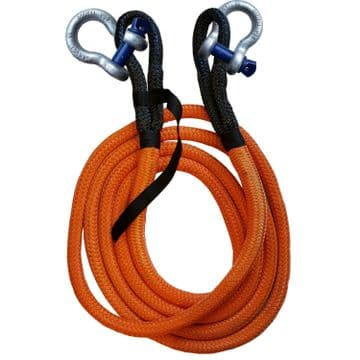 KINETIC RECOVERY TOW ROPE + SHACKLES -  21000kgs - 32mm x 9 metre offroad 4 x 4